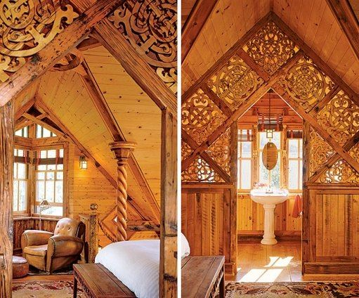 "A Boathouse Reminiscent of Norwegian Stave Churches! in Creede Colorado. Designed by Bryan Anderson. this ""'choir screen' separates the bedroom and a sitting area from a bath. 'It's not an homage to some artist but statements about influences on me,' Anderson says of the screen, which references Victorian, Art Nouveau, Celtic, Viking and Maori design."""