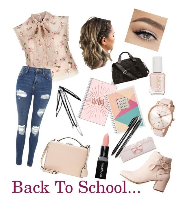 """First Day At The High School #set"" by szabo-b-aniko on Polyvore featuring beauty, Needle & Thread, Topshop, Charlotte Russe, Smashbox, Essie, Ted Baker, Mark Cross, Vera Bradley and Paper Mate"