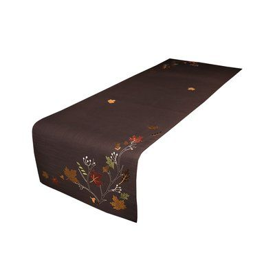 """Red Barrel Studio Dresden Branches Embroidered Fall Table Runner Size: 54"""" W x 16"""" L"""