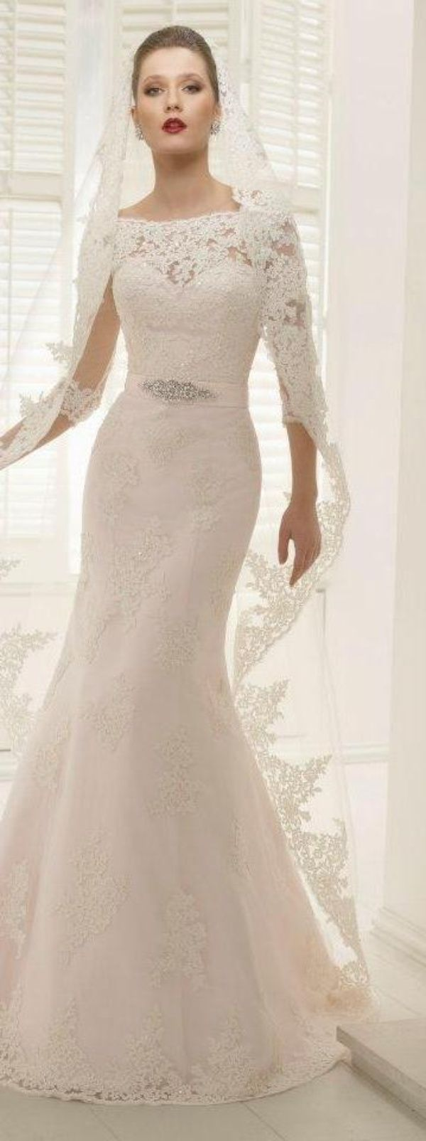 White and Gold Wedding. Sweetheart Neckline, Lace Trumpet Wedding Dress. GOWNS OF ELEGANCE - Bridal