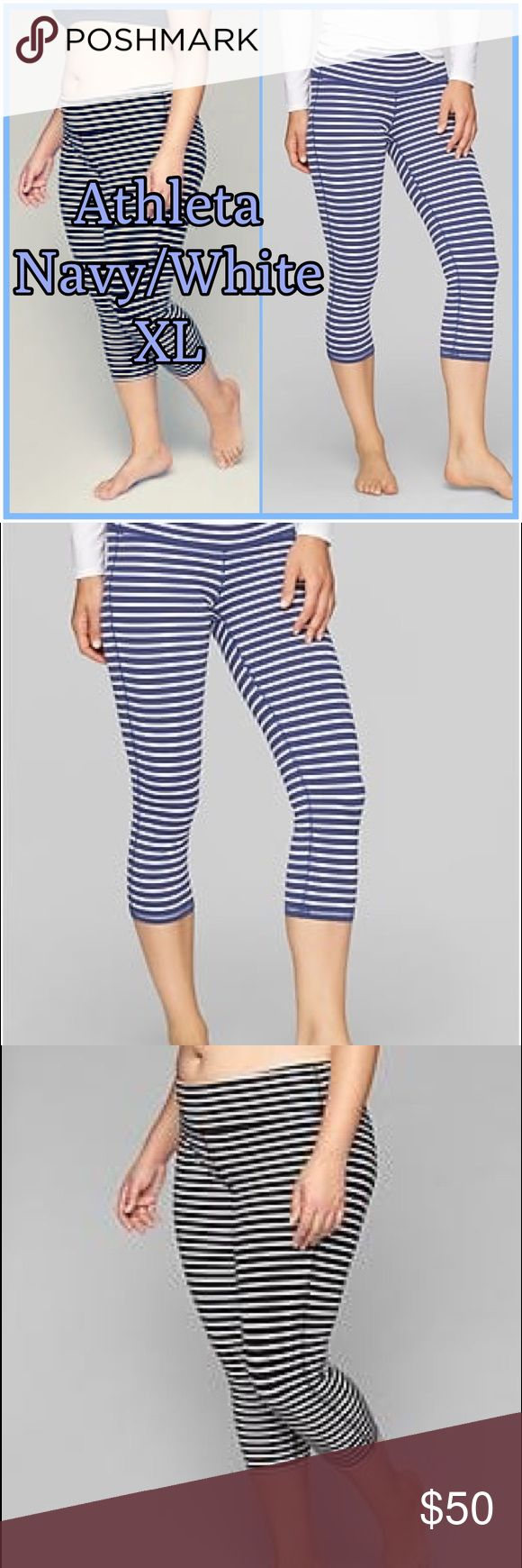 ⭐️⭐️ Athleta Womens Stripes Chaturanga Capri ⭐️⭐️ ⭐️ Athleta Womens Stripes Chaturanga Capri Indigo/White Size XL work out pants. New without tags. 🔥 Our go-to tight for yoga and studio workouts made from our signature soft, stretchy, wicking Pilayo . ⭐️⭐️ Top seller, Posh ambassador, super fast shipping. Athleta Pants Track Pants & Joggers