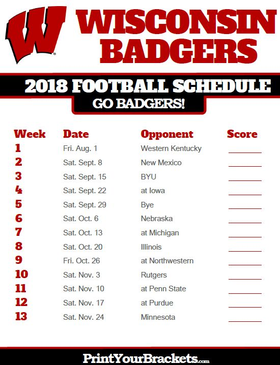 2018 Printable Wisconsin Badgers Football Schedule