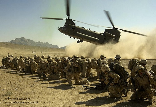 A Royal Air Force Chinook CH-47 comes in to land. It was carrying the final members of K Company, 42 Commando Royal Marines to complete the hand over with A Company, 2 Batallion Royal Regiment of Fusiliers in Helmand Province, Afghanistan.