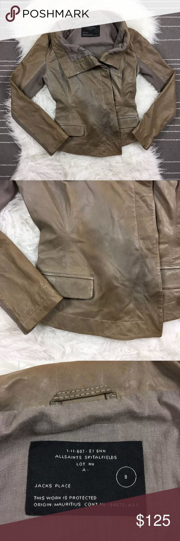 All Saints Lambskin Leather Jacket Beautiful, hardly worn All Saints Lambskin jacket. Fits an XS, size 8 UK. I'm usually a size 4 in US and this just fits. Water drop on right side as shown and one on sleeve. Small holes where security tag were as shown. All Saints Jackets & Coats