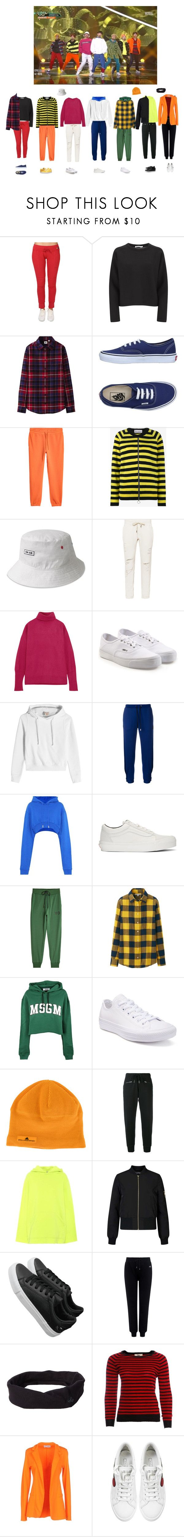 """""""BTS- go go live"""" by mochichimchim ❤ liked on Polyvore featuring T By Alexander Wang, Uniqlo, Vans, Molly Goddard, kangol, NSF, Maison Margiela, Vetements, Versus and Off-White"""