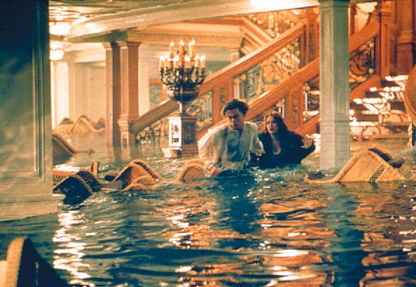 In the scene where the water comes crashing into the Grand Staircase room, the film makers only had one shot at it because the entire set and furnishings were going to be destroyed in the shot.