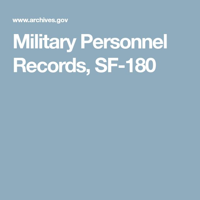 Military Personnel Records, SF-180