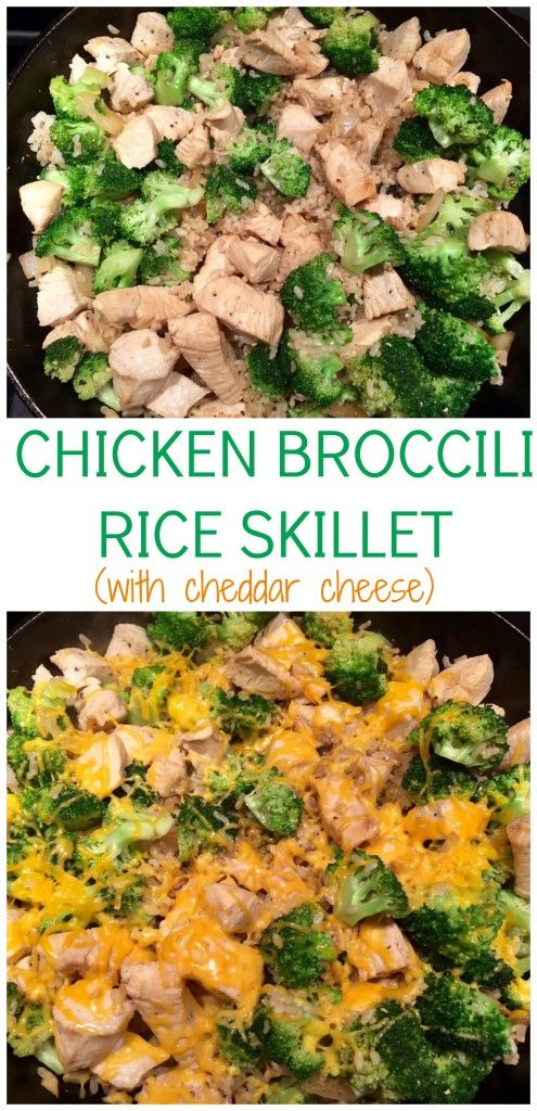 Chicken Broccoli Rice Skillet with Cheddar Cheese skips the canned cream soup and is ready in less than 30 minutes. @MomNutrition