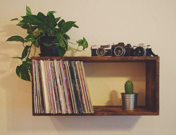 Reclaimed Wood Floating Record Shelf / Bookcase