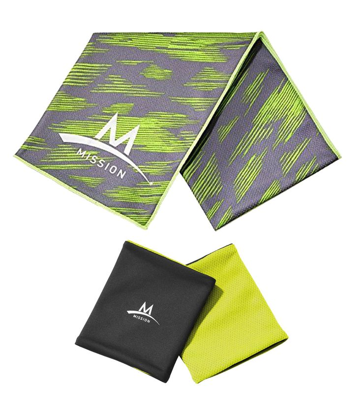 """Mission Enduracool 12"""" x 33"""" Towel Wristband Set UPF 50 Cools Instantly When Wet. Includes (1) - Mission Enduracool Wristband Set and (1) - Towel. Premium Tech Knit material. Lightweight & Breathable. Cools Instantly When Wet to 30 Degree below average body temperature. Wicks away sweat. Promotes moisture cirulation. Regulates evaporation to help cool. UPF 50 Sun Protection. Chemical-free, Reusable & Machine Washable. 92% Polyester & 8% Spandex. To activate cooling technology: Get it…"""