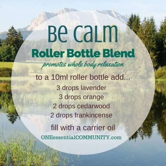 """Be Calm"" roller bottle blend to promote whole body relaxation -- LOVE this!! amazing find! there are tons of great roller bottle blends {and FREE super cute labels} for all kinds of emotions-- calm, focus, grounding, balance, gratitude, happy, energy, comfort, motivation, courage, confidence, cheer, creativity, and more!!"