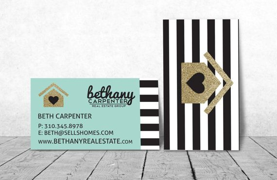 b&w stripes GOLD modern Realtor Business Cards or any profession. Logo of house can be anything. MINT GREEN by Ladyluckpr