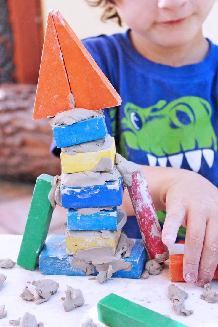 Science & Design for Kids: Clay and Wood Block Structures | A simple to set-up clay project for kids with an engineering mini lesson