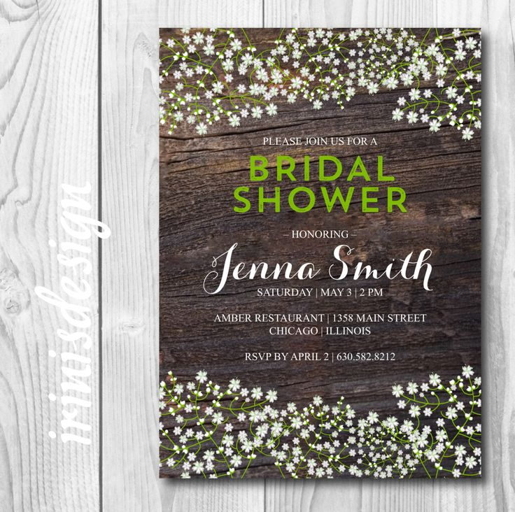 bridal shower invitations with recipe card attached%0A Shabby Chic wood Baby u    s Breath Flower Babys Bridal by irinisdesign