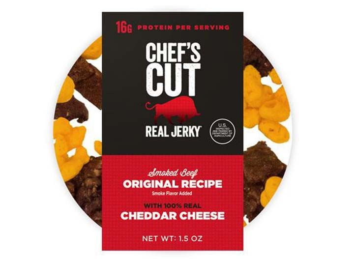 Chefs cut cheddar jerky: PER 1.35 OUNCES: 160 calories, 8.5 g fat (5.5 g saturated fat), 460 mg sodium, 7 g carbs (0 g fiber, 5 g sugar), 14 g protein