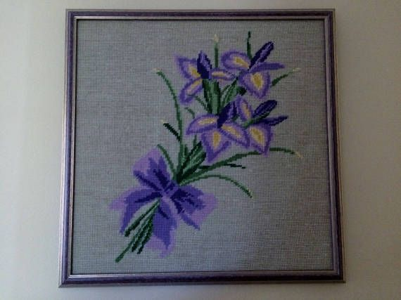 Framed Vintage Tapestry Picture. Iris Bouquet Framed Gobelin. Needlepoint Picture Purple Flowers. Beige Background in Purple Frame ROP0220