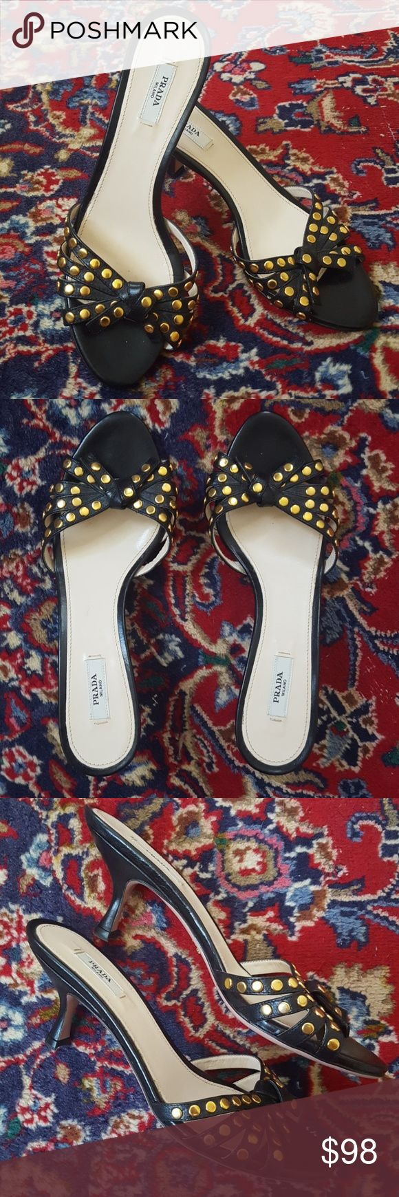 Prada Black Kitten Heel Sandals with Gold Studs Adorable Prada kitten heel mule sandals with black leather straps and ties covered in gold studs. Excellent condition with very little wear as shown. Size 37 (US size 7 ). Sandals do not come in the dust bag or box. Prada Shoes Sandals
