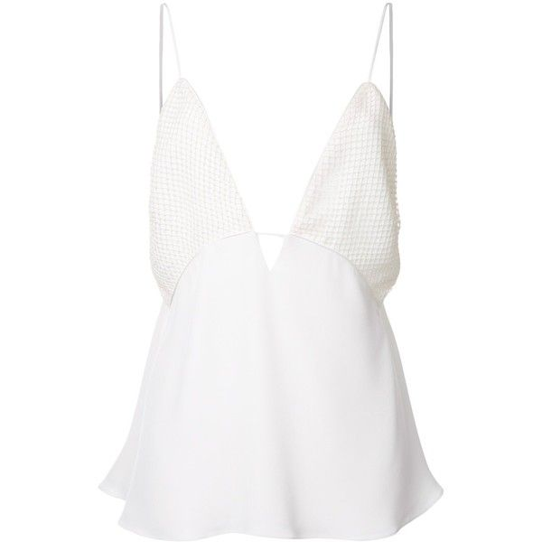 Christopher Esber 'Sheer Grid Reaction' cami top ($339) ❤ liked on Polyvore featuring tops, tank tops, blouses, dresses, shirts, white, white sheer top, sheer white shirt, sheer tank top and sheer camisole