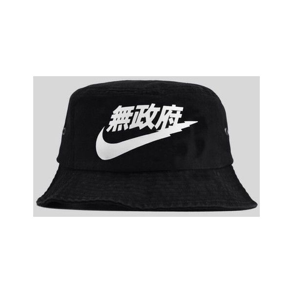 Hat: nike black bucket nike chinese letters s black japanese nike... ❤ liked on Polyvore
