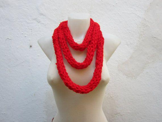 Crochet infinity scarf Finger Knitting Scarf chain by scarfnurlu