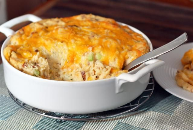 This potato casserole is loaded with flavor, including bacon, cheese, sour cream, and seasonings. If you're looking for a great tasting potato casserole recipe, this is a great choice.