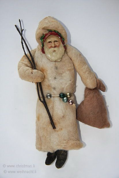 Old cotton Santa with a brown Bag, Switch and Belt with Glass Beads: Cotton Bats, Scrap Faces, Santa Ornaments, Bats Ornaments, Christmas Decor, Christmas Ornaments, Cotton Santa, Spun Cotton, German Christmas