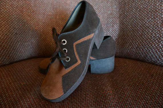 vintage suede brown shoes chunky heels lace oxford zig zag chevron 1970 70s
