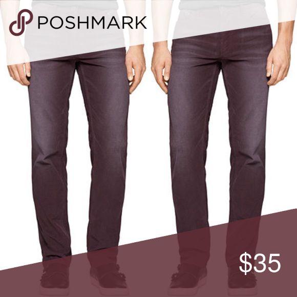 Calvin Klein Slim Straight Corduroy Washed Indigo Bordeaux 644 new with tags. Modern casual. 33x32 Calvin Klein Jeans Pants Corduroy