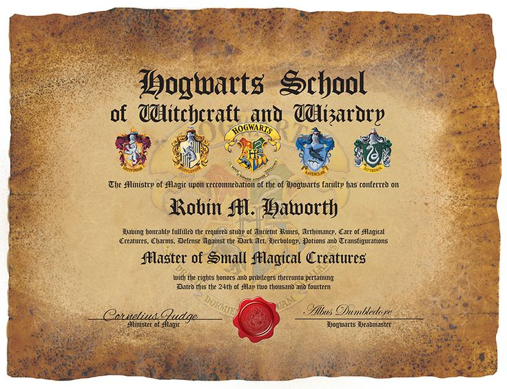 17 best images about novelty certificates diplomas on pinterest charles xavier wheels and for Harry potter certificate