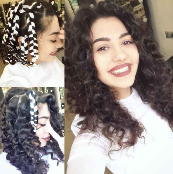 Braid damp hair with twisted pieces of foil to get pretty curls.