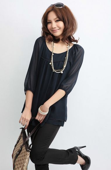 new 2014 blouses for girls L-4XL camisetas femininas black purple vintage blouse appliques decorate three quater sleeve(E-wear)
