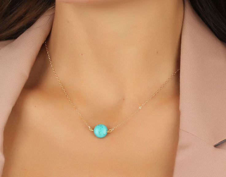 "Turquoise necklace, gold necklace, turquoise and gold, bridesmaid jewelry, bridal pendant, best friend necklace, 14k gold necklace, ""Antiope. $21.00, via Etsy."