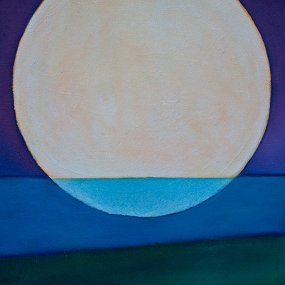 """Atlantic Moon by Jacqueline Steudler, oil on canvas, 16""""x16"""", 2012"""