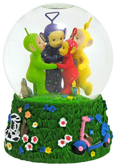 Teletubbies snow globe. They're so creepy that they're kinda' cute.
