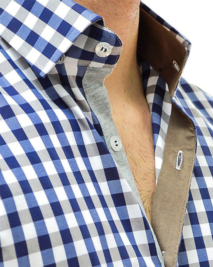 Stone Rose Checkered Blue Designer Shirt - NAVYBROWN
