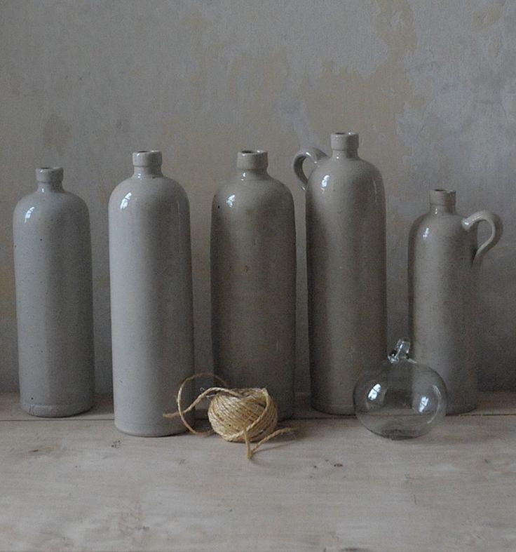 grey stoneware bottles