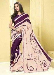 Casual Wear  Georgette Violet Printed Saree