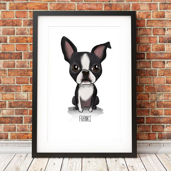 Personalised Boston Terrier Print | Boston Terrier Gifts | Boston Terrier Print | Dog Portrait | Mothers Day Gifts