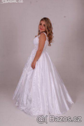 Prodám svatební šaty, vhodné pro těhotné. Bílé. - 1