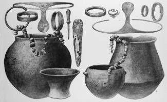 Cultura de El Argar (2º milenio ac=. Tumbas 51 y 398 de El Argar con ajuares femeninos propios de la clase dominante (Siret y Siret 1890: lám. 43)