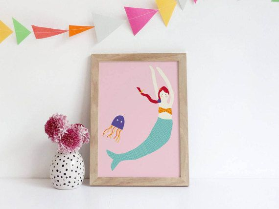 Mermaid Nursery Art  Nursery Prints Girl  Mermaid Nursery
