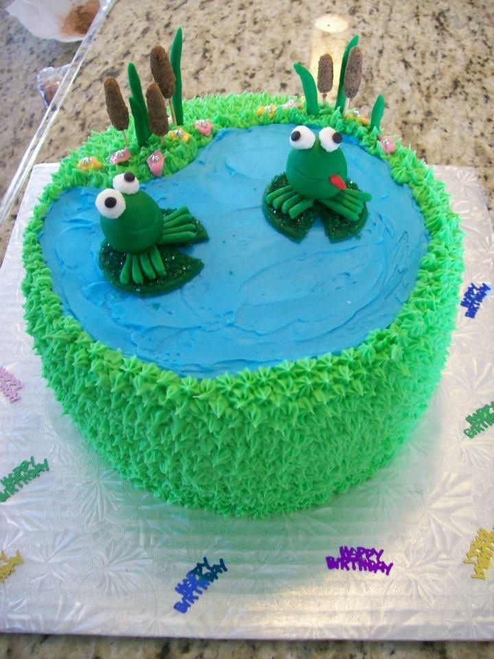 Frog cake I baked for a birthday party. Love it! Thought it turned out great for a first time :)