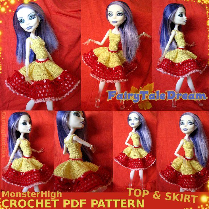 ❤FairyTaleDream❤ Monster High doll crochet pattern : top & skirt   #crochet #pdf #MonsterHigh #Monster #High #doll #clothes #skirt #top #princess #fairy #cute #DIY #patterns #handmade