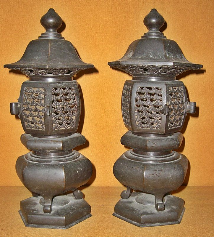 Antique Japanese Buddhist Temple Bronze Altar Lanterns For Sale | Antiques.com | Classifieds