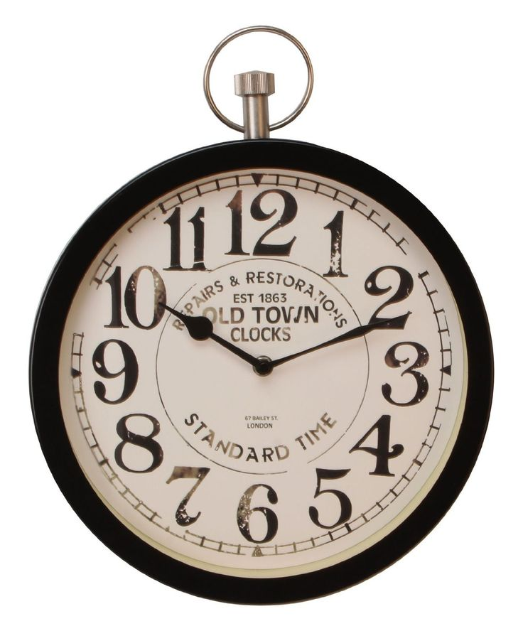 Deluxe Old Town Metal Wall Clock (Black)