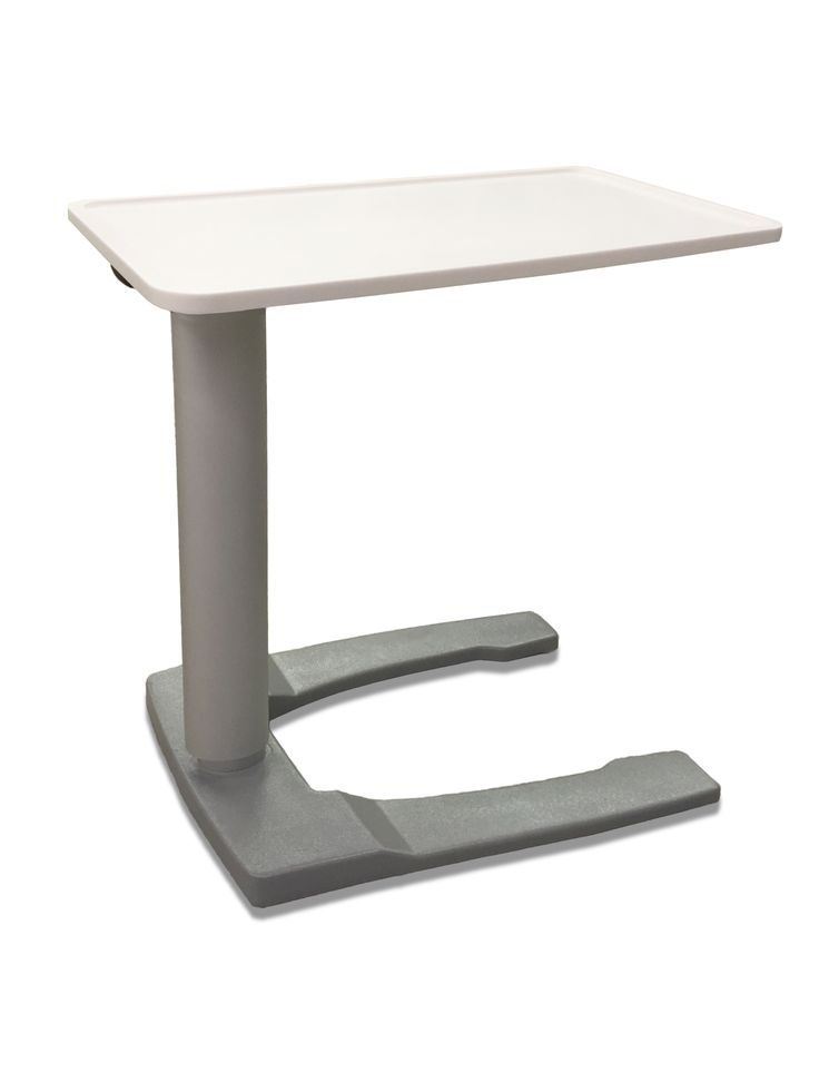Futrus Contour Overbed Table with 100% Corian solid surface tabletop and rounded column.