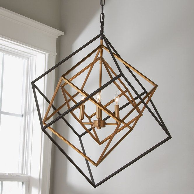 Prismatic Cubed Chandelier 4 Light Modern Chandelier Contemporary Light Fixtures Geometric Lighting