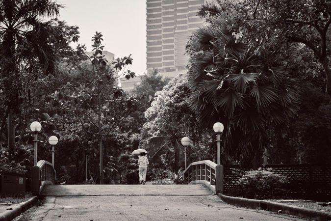 Copyright, 2016. Natalie Uscinas. Over the bridge at Lumpini Park, Bangkok