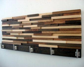 Wood Coat Rack with Shelf Rustic Wood Sculpture by ModernRusticArt