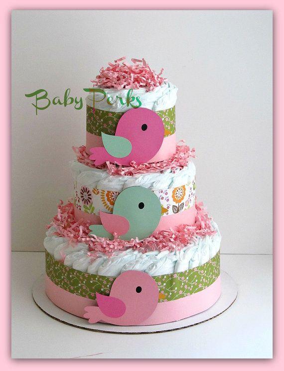 Bird Diaper Cake . Baby Girl baby Shower . Nesting Baby Shower, Baby Shower Decorations on Etsy, $49.99